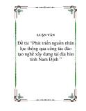 Tiểu luận: Phát triển nguồn nhân lực thông qua công tác đào tạo nghề xây dựng tại địa bàn tỉnh Nam Định
