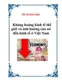 khủng hoảng kinh tế thế giới và ảnh hưởng của nó đến kinh tế ở Việt Nam