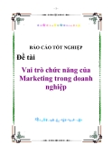 """Báo cáo """"Vai trò chức năng của Marketing trong doanh nghiệp"""""""
