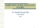 Nhập môn quản trị doanh nghiệp - Ts Nguyễn Hoàng Tiến