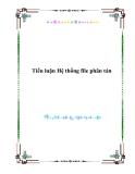 Tiểu luận Hệ thống file phân tán