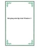 Bài giảng môn lập trình Windows 3 (C#) - Trương Bá Thái