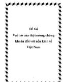 """Báo cáo """"Vai trò của thị trường chứng khoán đối với nền kinh tế Việt Nam"""""""