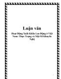 Hoạt Động Xuất Khẩu Lao Động ở Việt Nam: Thực Trạng và Một Số Khuyến Nghị