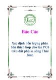 Luận văn: Xác định liều lượng phân bón thích hợp cho lúa PC6 trên đất phù sa sông Thái Bình