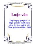 Luận văn: Thực trạng lạm phát và hiệu quả của chính sách kiềm chế lạm phát ở Việt Nam giai đoạn 1986 - 2010