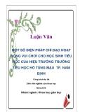 Luận văn: Một số biện pháp chỉ đạo hoạt động vui chơi cho học sinh tiểu học của hiệu trưởng trường tiểu học Hồ Tùng Mậu TP. Nam Định