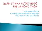 Quản lý nhà nước về đô thị và nông thôn (GVC.PHan Kế Vân)