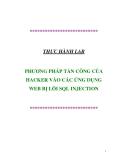 THỰC HÀNH LAB : PHƯƠNG PHÁP TẤN CÔNG CỦA HACKER VÀO CÁC ỨNG DỤNG WEB BỊ LỖI SQL INJECTION