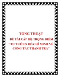 TƯ TƯỞNG HỒ CHÍ MINH VỀ CÔNG TÁC THANH TRA