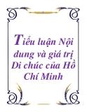 Tiểu luận Nội dung và giá trị Di chúc của Hồ Chí Minh