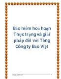 Bảo hiểm hoả hoạn  Thực trạng và giải pháp đối với Tổng Công ty Bảo Việt