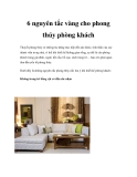 6 nguyên tắc vàng cho phong thủy phòng khách