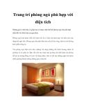 Trang trí phòng ngủ phù hợp với diện tích