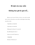Bí mật của may mắn - Phần 2