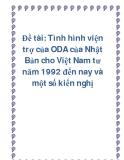 Đề tài: Tình hình viện trợ của ODA của Nhật Bản cho Việt Nam từ năm 1992 đến nay và một số kiến nghị