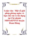 Luận văn:  Một số giải pháp phòng ngừa và hạn chế rủi ro tín dụng tại Chi nhánh NHNo&PTNT huyện Đoan Hùng