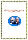 Câu hỏi và trả lời môn Nguyên lý cơ bản chủ nghĩa Mác - Lênin