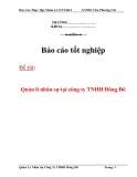 Báo cáo tốt nghiệp: Quản lí nhân sự tại công ty TNHH Đông Đô