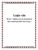 """Đề tài: """" Nghiên cứu các loại hình du lịch ở thành phố biển Nha Trang """""""