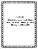 Luận văn: Kế toán tiền lương và các khoản trích theo lương tại công ty TNHH Thương Mại Hoàng My