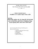 Đề tài: Bước đầu nghiên cứu xây dựng bộ chỉ thị đánh giá các hình thức nuôi tôm ở Huế