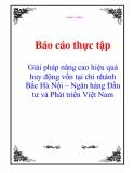Báo cáo thực tập: Giải pháp nâng cao hiệu quả huy động vốn tại chi nhánh Bắc Hà Nội – Ngân hàng Đầu tư và Phát triển Việt Nam