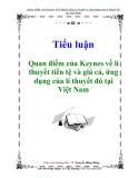 """Tiểu luận """"Quan điểm của Keynes về lí thuyết tiền tệ và giá cả, ứng dụng của lí thuyết đó tại Việt Nam"""""""