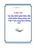 Đề tài: Sự cần thiết phải thúc đẩy xuất khẩu hàng nông sản Việt Vam sang thị trường EU