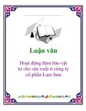 Đề tài:  Hoạt động đảm bảo vật tư cho sản xuất ở công ty cổ phần Lam Sơn