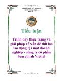 Tiểu luận: Trình bày thực trạng và giải pháp về vấn đề thù lao lao động tại một doanh nghiệp - công ty cổ phần bưu chính Viettel