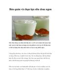Bảo quản và chọn lựa sữa chua ngon