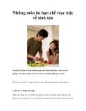 Những món ăn hạn chế trục trặc về sinh sản