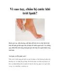 Vì sao tay, chân bị cước khi trời lạnh?