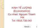 Bài giảng môn Kinh tế lượng - Nguyễn Thanh Hải