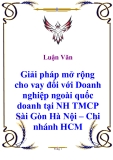 Luận văn: Giải pháp mở rộng cho vay đối với Doanh nghiệp ngoài quốc doanh tại NH TMCP Sài Gòn Hà Nội – Chi nhánh HCM