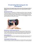 10 cách tăng thời lượng pin cho smartphone