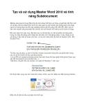 Tạo và sử dụng Master Word 2010 và tính năng Subdocument