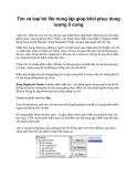 Tìm và loại bỏ file trùng lặp giúp khôi phục dung lượng ổ cứng