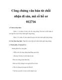 Công chứng văn bản từ chối nhận di sản, mã số hồ sơ 012716