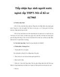 Tiếp nhận học sinh người nước ngòai cấp THPT-Mã số hồ sơ 017905