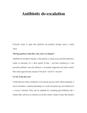 Antibiotic de-escalation