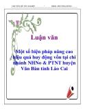 Luận văn: Một số biện pháp nâng cao hiệu quả huy động vốn tại chi nhánh NHNo & PTNT huyện Văn Bàn tỉnh Lào Cai