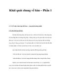 Khái quát chung về hàn – Phần 1