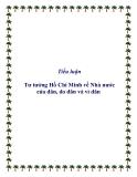 Tiểu luận Tư tưởng Hồ Chí Minh về Nhà nước của dân, do dân và vì dân