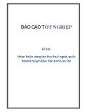 Đề tài: Hoàn thiện công tác thu thuế ngoài quốc doanh huyện Bảo Yên tỉnh Lào Cai