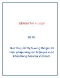 Đề tài: Giới thiệu về thị trường thế giới và biện pháp nâng cao hiệu quả xuất khẩu hàng hoá của Việt nam