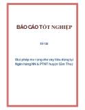 Đề tài: Giải pháp mở rộng cho vay tiêu dùng tại Ngân hàng NN & PTNT huyện Cẩm Thuỷ