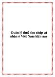 Quản lý thuế thu nhập cá nhân ở Việt Nam hiện nay