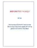 Đề tài: Vai trò của nền kinh tế vai trò của đầu tư trực tiếp nước ngoài đối với sự phát triển kinh tế Việt Nam